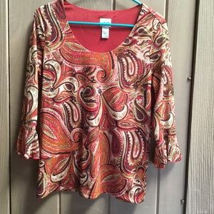 Chico's size 2 red paisley top- for work or play!